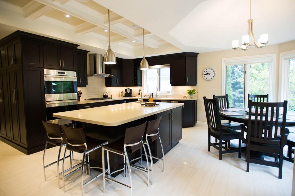 kitchen, waffle ceiling, tile floor